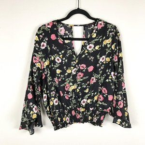 3/$20 KAii Floral Blouse with Bell Sleeves